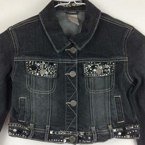 Girls limited too black Jean jacket size 12
